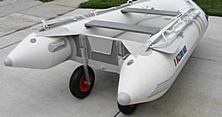 Dinghy Wheels attached to older model of Azzurro Mare boat by Saturn. Click on image to enlarge it.